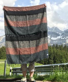 Große gestreifte Yak Wolldecke (Schwarz, Grau, Braun)