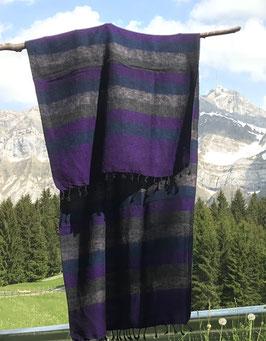 Kleine gestreifte Yak Wolldecke / Schal (Violett, Grau, Blau)