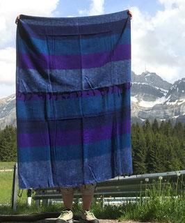 Große gestreifte Yak Wolldecke (Blau, Violett)