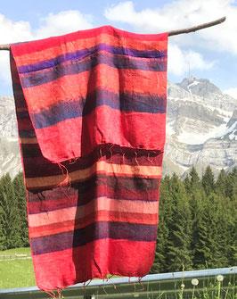 Kleine gestreifte Yak Wolldecke / Schal (Rot, Blau, Kunterbunt)