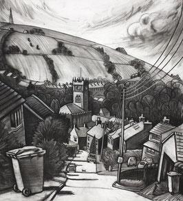 Bin Day On Cote Lane Print