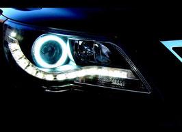 Kit 2 Fanali Anteriori LED DRL® Neri  VW Tiguan 5N 07-10