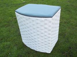 Sitzwäschetruhe Wäschekorb Wäschetonne aus Nylon, weiß/grau