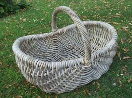 Kaminkorb, Holzkorb aus Rattan-Boondotrohr, grau