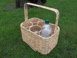 Flaschenkorb, Flaschenträger aus Wasserhyazinthe für 6 Flaschen