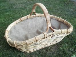 Kaminkorb, Holzkorb, Erntekorb aus Rattan-Peddigrohr mit Futter