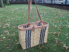 Einkaufstasche aus Binsen mit Lederrand und Schulterriemen