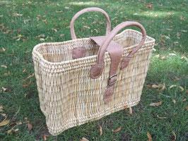 Einkaufstasche aus Binsen mit Verschluss und Ledergriffe