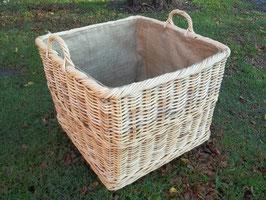 Kaminkorb auf Rollen, Holzkorb, Erntekorb, Kartoffelkorb aus Rattan