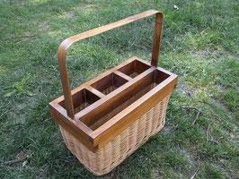 Besteckkorb, Serviettenkorb aus Peddigrohr und Holz