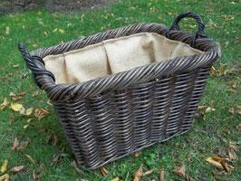 Kaminkorb, Holzkorb, Erntekorb aus Rattan-Bondootrohr, braun gebeizt