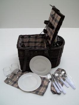 Picknickkorb, Lunchkorb, aus Weide mit 2 Personen-Ausstattung