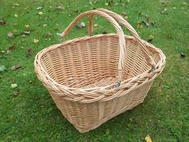 Einkaufskorb, Erntekorb mit Klappbügel aus gesottener Weide