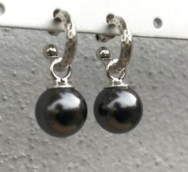Orecchini con anella in argento e perla O155