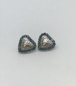 Orecchini a cuore in argento circondato da piccoli strass Swarovski - cod. O42