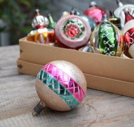 Kerstbal zachtroze, groen/roze, glitter