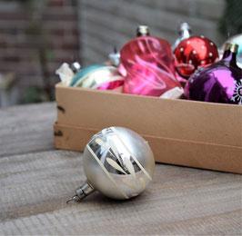 Kerstbal zilver glans/mat, geverfd