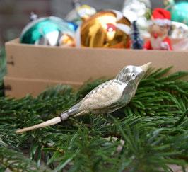 Vogel op knijper zilver, witte snavel/vleugels