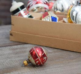 Feathertree kerstbal zilver/rood geblokt