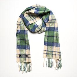 John Hanly sjaal, smaragd/blauw/wit geblokt
