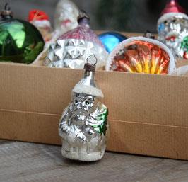 Kerstman zilver klein, gesuikerde muts
