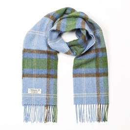 John Hanly sjaal, lichtblauw/groen geblokt