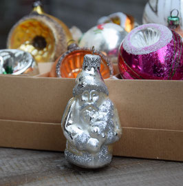Kerstman zilver, zilver glitter