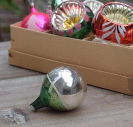 Ajeko kerstbal zilver/groen