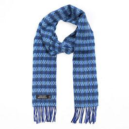 John Hanly sjaal, blauw/aqua geblokt