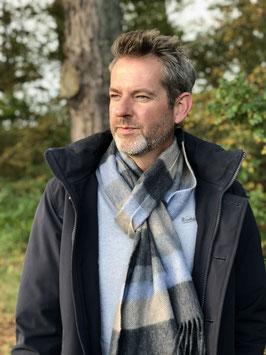 John Hanly sjaal, taupe/blauw/grijs streep