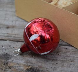 Kerstbal rood, glitter