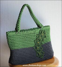 Вязаная сумка на молнии с подкладом 38 х 21 х 11