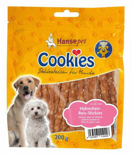 Cookies Hühnchensticks mit Reis