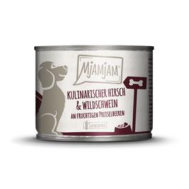 MjAMjAM - leckere Mahlzeit mit kulinarischem Hirschfleisch und feinstem Fleisch vom Wildschwein, serviert an fruchtigen PreiselbeerenProduktname