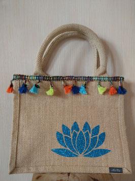 Petit sac jute fleur de lotus turquoise