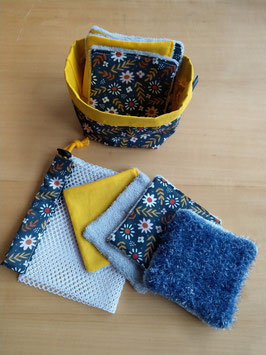 Kit lingettes motif fleurs bleues
