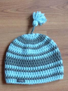 Bonnet gris et bleu