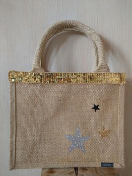 Petit sac 3 étoiles or argent noir