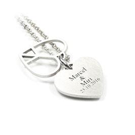 Peace Herz Anhänger und Kette aus 925 Silber Namenskette mit individueller Gravur PS23 KE2
