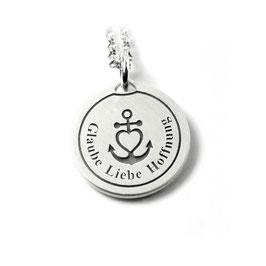 Runder Anhänger mit Ihrer Gravur mittig mit Herzanker Symbol aus 925 Silber  PS135 KE2