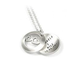Anhänger zweiteiliges Medaillon Herzchen aus 925 Silber mit individueller Gravur PSD 4 KE2