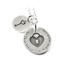 Anhänger Liebesschloss Herzschloss und Kette aus 925 Silber Namenskette mit individueller Gravur PS228 KE2