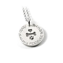 Anhänger Herz | Knochen | Pfote Symbol aus 925 Silber Namenskette mit individueller Gravur PS167 KE2
