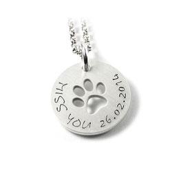 Anhänger Symbol Hundepfote | Pfote und Kette aus 925 Silber Namenskette mit individueller Gravur PS132 KE2
