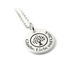 Anhänger Baum des Lebens und Kette aus 925 Silber mit individueller Gravur PS83 KE2