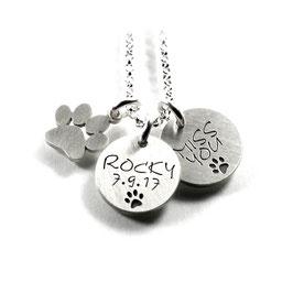 3 Anhänger mit Gravur aus 925 Silber als Namenskette Partnerschmuck Andenken PS153KE2