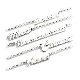 Wunschname Namenskette - Anhänger und Kette aus 925 er Silber (PNE8) 45cm KE5