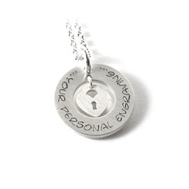 Anhänger mit beweglichem Liebesschloss Herzschloss und Kette aus 925 Silber Namenskette mit individueller Gravur PS301 KE2