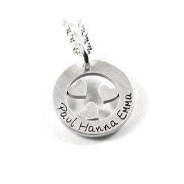 Anhänger und Kette aus 925 Silber Namenskette mit individueller Gravur Herz Herzen Herzchen Symbol PS197 KE2