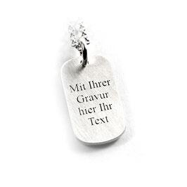 Anhänger Dogtag Erkennungsmarke und Kette aus 925 Silber Namenskette mit individueller Gravur PS174 KE2